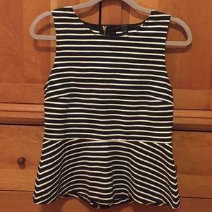 J. Crew black white striped peplum sleeveless top